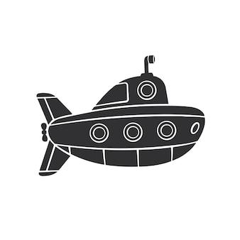 Illustration vectorielle silhouette de sous-marin avec périscope et hublots