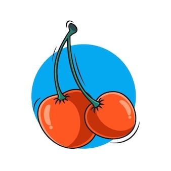Illustration vectorielle simple cerise icône pour autocollant