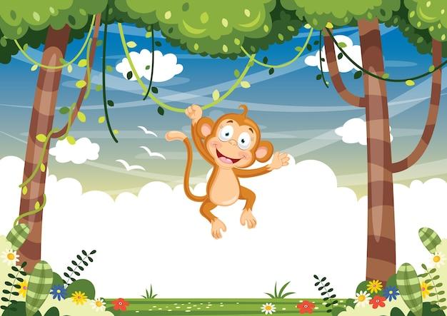 Illustration vectorielle de singe cartoon