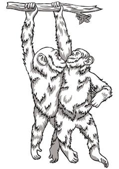 Illustration vectorielle de singe noir et blanc. symboles du nouvel an chinois