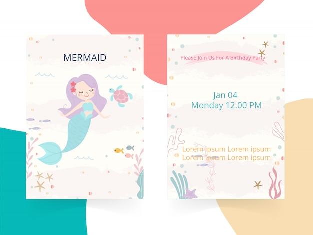 Illustration vectorielle de sirène mignon thème anniversaire fête invitation carte.