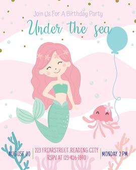 Illustration vectorielle de sirène mignonne thème anniversaire fête invitation carte.