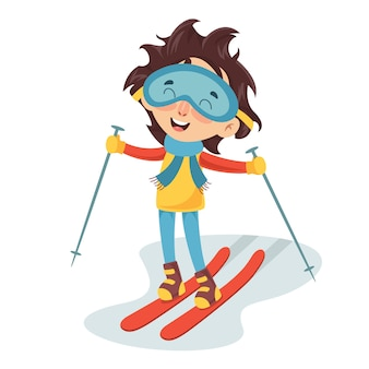 Illustration vectorielle de ski enfant