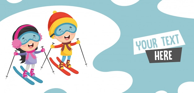 Illustration vectorielle de ski enfants