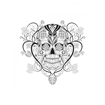 Illustration vectorielle de skul cannabi