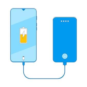 Illustration vectorielle de smartphone charge banque de puissance.
