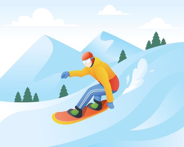 Illustration vectorielle de snowboarder