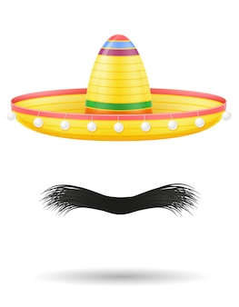 Illustration vectorielle de sombrero national coiffe et moustache