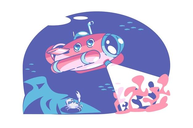 Illustration vectorielle sous-marin et poisson fantastique sous-marin rétro avec périscope étendu au-dessus du concept de paysage sous-marin de style plat de surface de la mer isolé