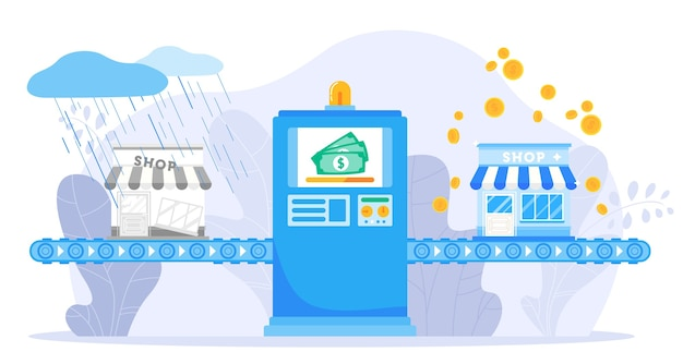 Illustration vectorielle de soutien aux petites entreprises. machine de ligne de convoyeur d'assurance plat de dessin animé soutenant la construction d'entreprise, la réparation de la croissance de l'argent des finances, les affaires financières