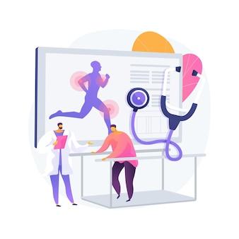 Illustration vectorielle de sport médecine concept abstrait. services médicaux orthopédiques, médecin spécialiste, réadaptation des blessures sportives, gestion de la douleur, médecine pour les athlètes métaphore abstraite.