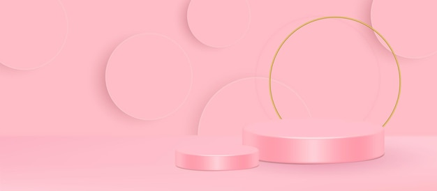 Illustration vectorielle de stand 3d. forme géométrique rose crème scène minimal illustration vectorielle 3d.