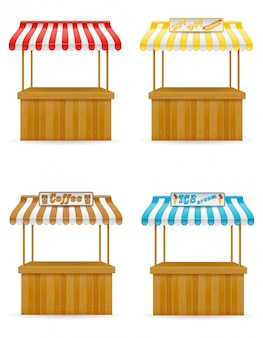 Illustration vectorielle de street food stall