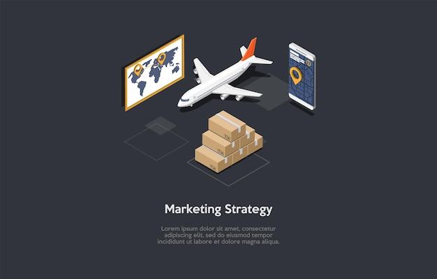 Illustration vectorielle. style 3d de dessin animé. composition isométrique. design conceptuel. stratégie de marketing, entreprise de produits d'achat d'entrepôt. schéma de stratégie commerciale. organisations financières et planification.