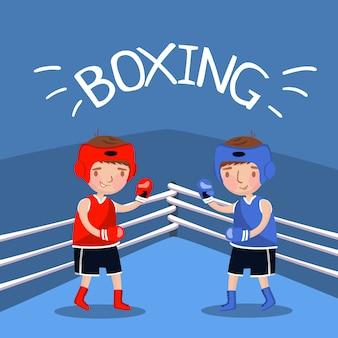 Illustration vectorielle, style de bande dessinée de match de boxe