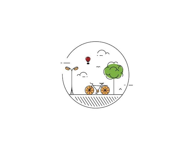 Illustration vectorielle de style design plat moderne du quartier de la ville écologique