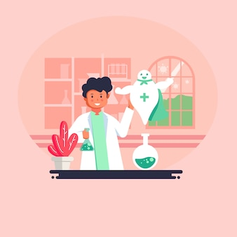 Illustration vectorielle de style plat. découverte d'un vaccin contre le virus
