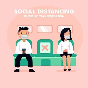 Illustration vectorielle de style plat. la distance sociale empêche le virus corona covid 19,