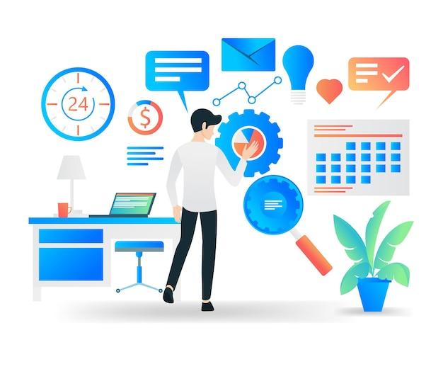 Illustration vectorielle de style plat de droite sur la planification d'entreprise cible
