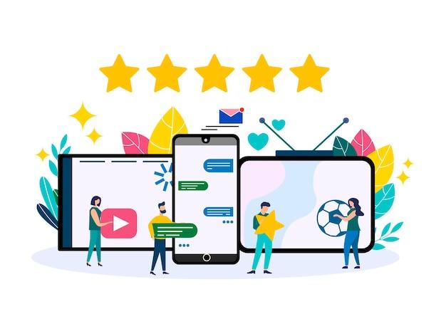 Illustration vectorielle, style plat, promotion commerciale, stratégie marketing. page de destination du site web. personnes travaillant ensemble.