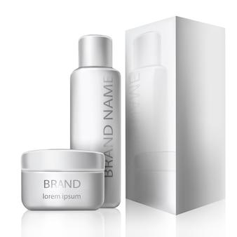 Illustration vectorielle d'un style réaliste de récipients cosmétiques en plastique blanc avec capsules fermées