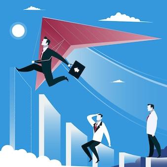 Illustration vectorielle de succès commercial croissance concept