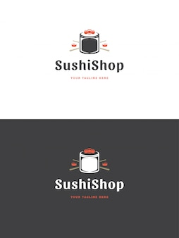 Illustration vectorielle de sushi restaurant emblème logo modèle