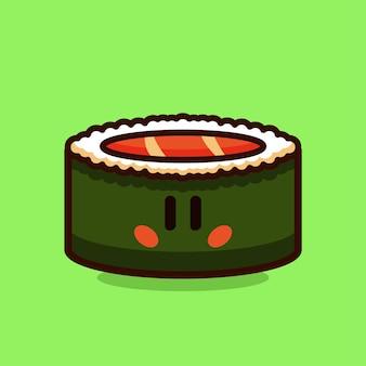 Illustration vectorielle de sushi roll saumon dessin animé