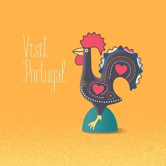 Illustration vectorielle de symbole portugais barcelos coq