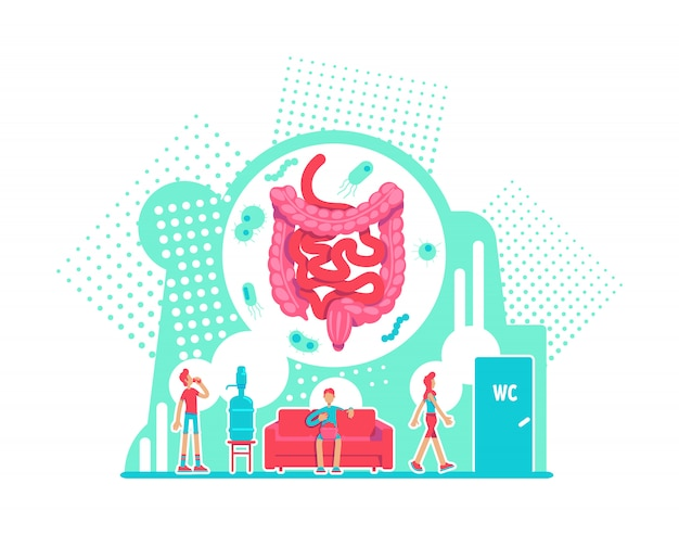 Illustration vectorielle de système digestif soins de santé concept plat. anatomie du gros intestin. la prévention des maladies. personnages de dessins animés 2d de mode de vie sain