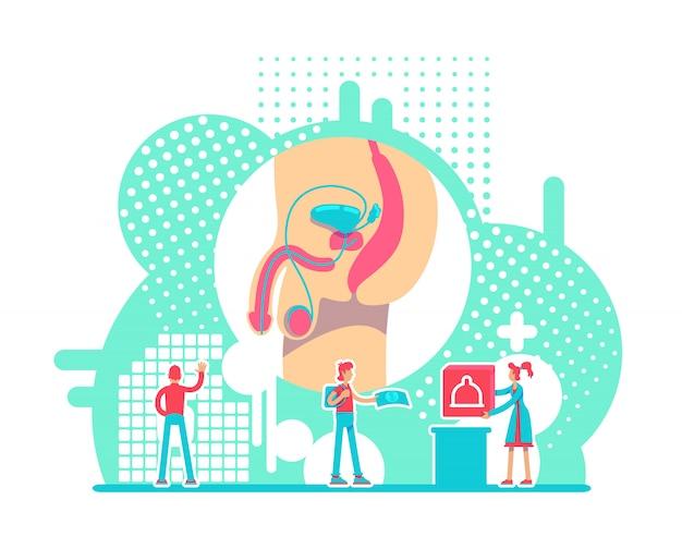 Illustration vectorielle de système reproducteur masculin santé concept plat. campagne de prévention des mst personnages de dessins animés 2d