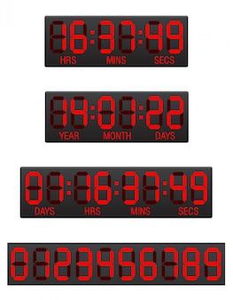 Illustration vectorielle de tableau de bord compte à rebours numérique