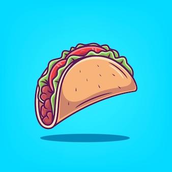 Illustration vectorielle de taco icône dessinés à la main