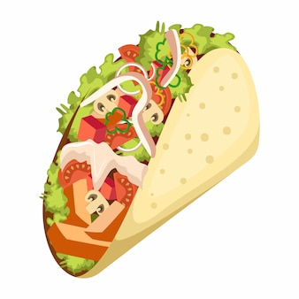 Illustration vectorielle taco mexicain