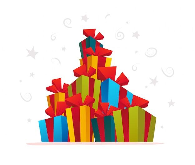 Illustration vectorielle de tas de coffrets cadeaux de noël.