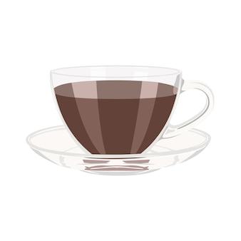 Illustration vectorielle de tasse de café avec soucoupe