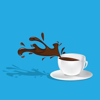 Illustration vectorielle de tasses à café en mouvement