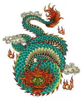 Illustration vectorielle de tatouage dragon asie