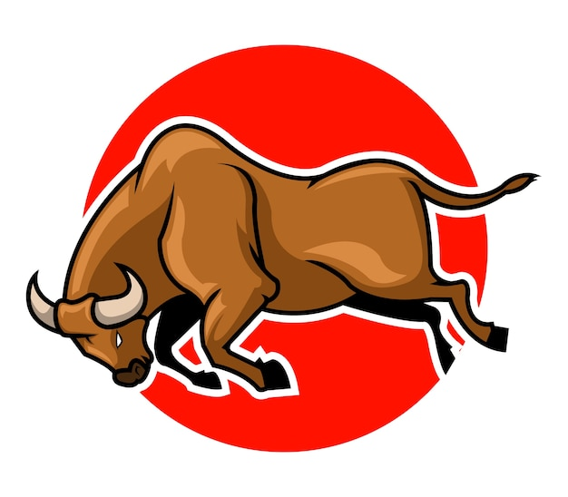 Illustration vectorielle de taureau sautant devant le cercle rouge