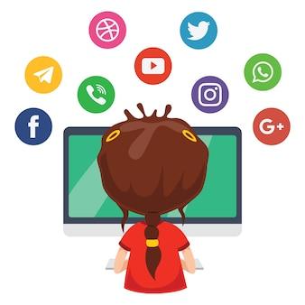 Illustration vectorielle de la technologie des enfants