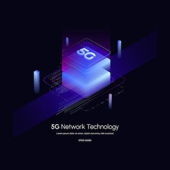 Illustration vectorielle de la technologie sans fil du réseau 5gsmartphone isométrique 5g