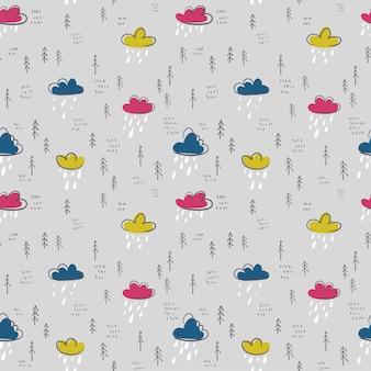 Illustration vectorielle tendance dessinée à la main avec des nuages de couleur et des pluies jour de pluie modèle sans couture