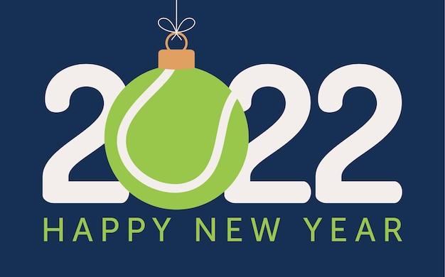 Illustration vectorielle de tennis de bonne année 2022. carte de voeux sports 2022 de style plat avec une balle de tennis sur le fond de couleur. illustration vectorielle.