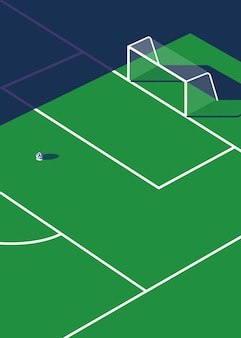 Illustration vectorielle d'un terrain de football avec ombre