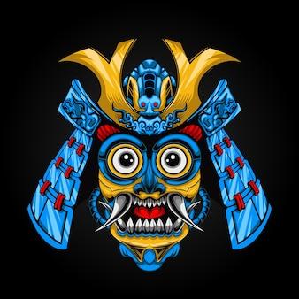 Illustration vectorielle de tête de barong avec casque de samouraï