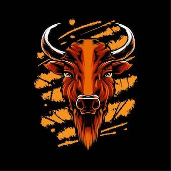 Illustration vectorielle de tête de bison. convient pour les t-shirts, les imprimés et les vêtements