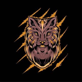 Illustration vectorielle de tête de chat sauvage lynx. convient aux t-shirts, aux imprimés et aux vêtements