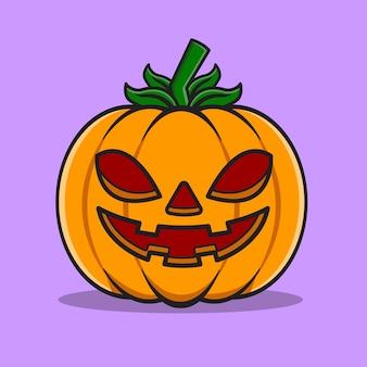 Illustration vectorielle de tête de citrouille halloween