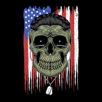 Illustration vectorielle de tête de crâne de l'armée américaine
