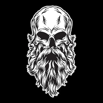 Illustration vectorielle de tête de crâne hirsute